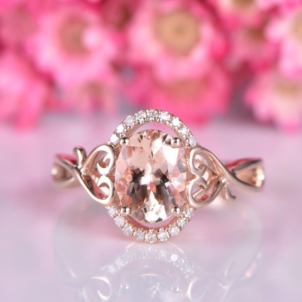 Morganite engagement ring vintage floral natural morganite ring ...