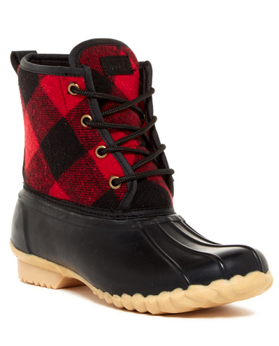 red plaid duck boots | Duck boots
