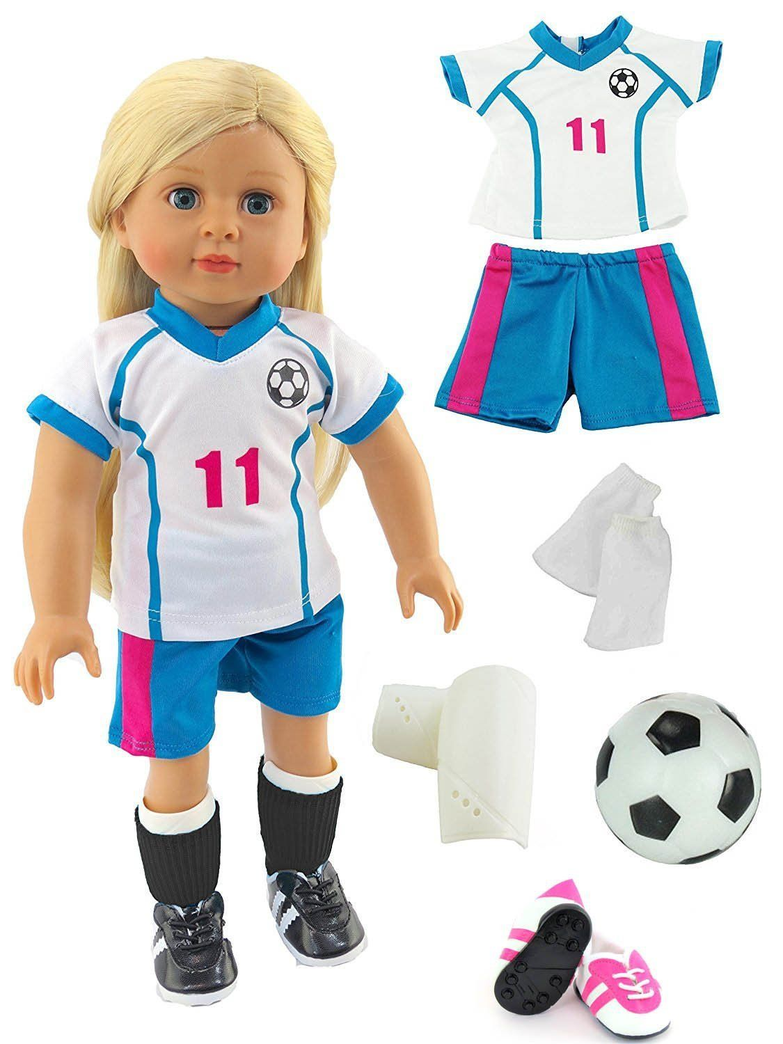 e8ddbee43 Pink & Teal Soccer Player Outfit with Uniform, Shin Guards, Socks, Soccer  Ball, and Shoes for 18-inch dolls
