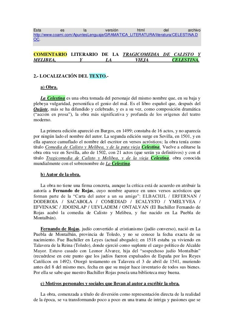 Resumen Aspectos Más Importantes De La Celestina Celestina Apuntes De Lengua Libros En Espanol