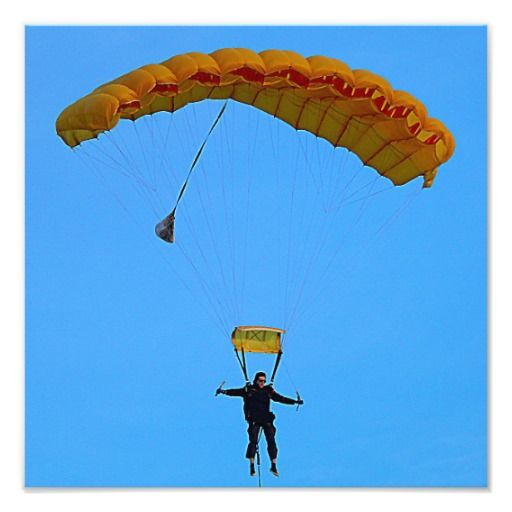 Skydiver coming in to land. Photo pring