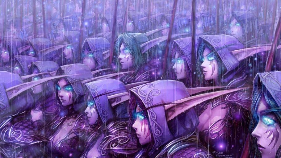 army, world of warcraft, elves, blizzard entertainment, art, blue