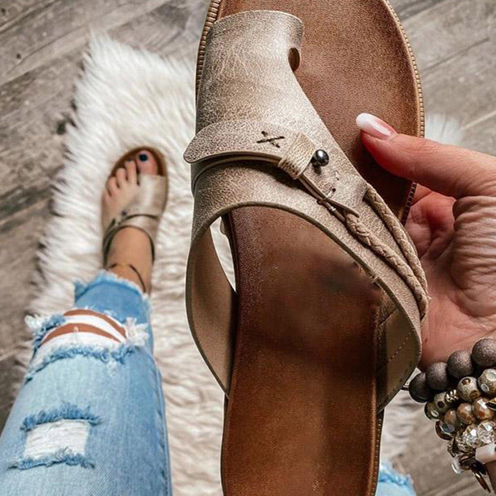 Open-Toe Summer Sandals New 2021 Flat Bottom Fashion Women Slides Big Size Slip on Sandals Woman Outside Beach Flat Designer - Khaki / 40