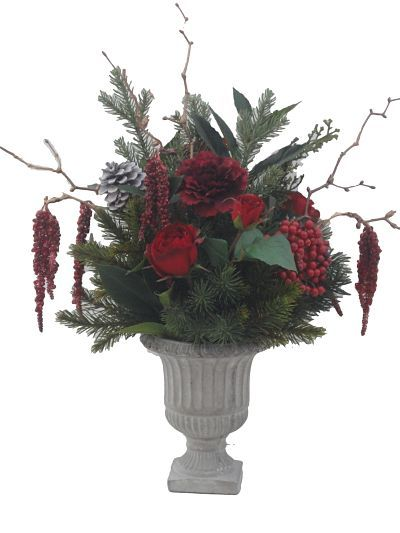 Sia Flowers Sia Christmas Artificial Flowers In A Small Grey Cement