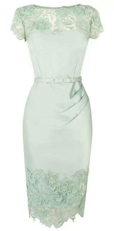 Alexon lace layered dress green