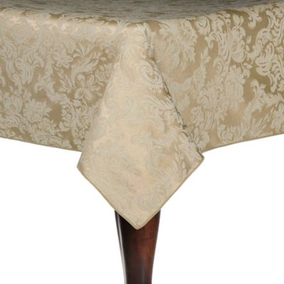 """Miranda 52"""" X 70"""" Oval Tablecloth In Champagne Damask"""