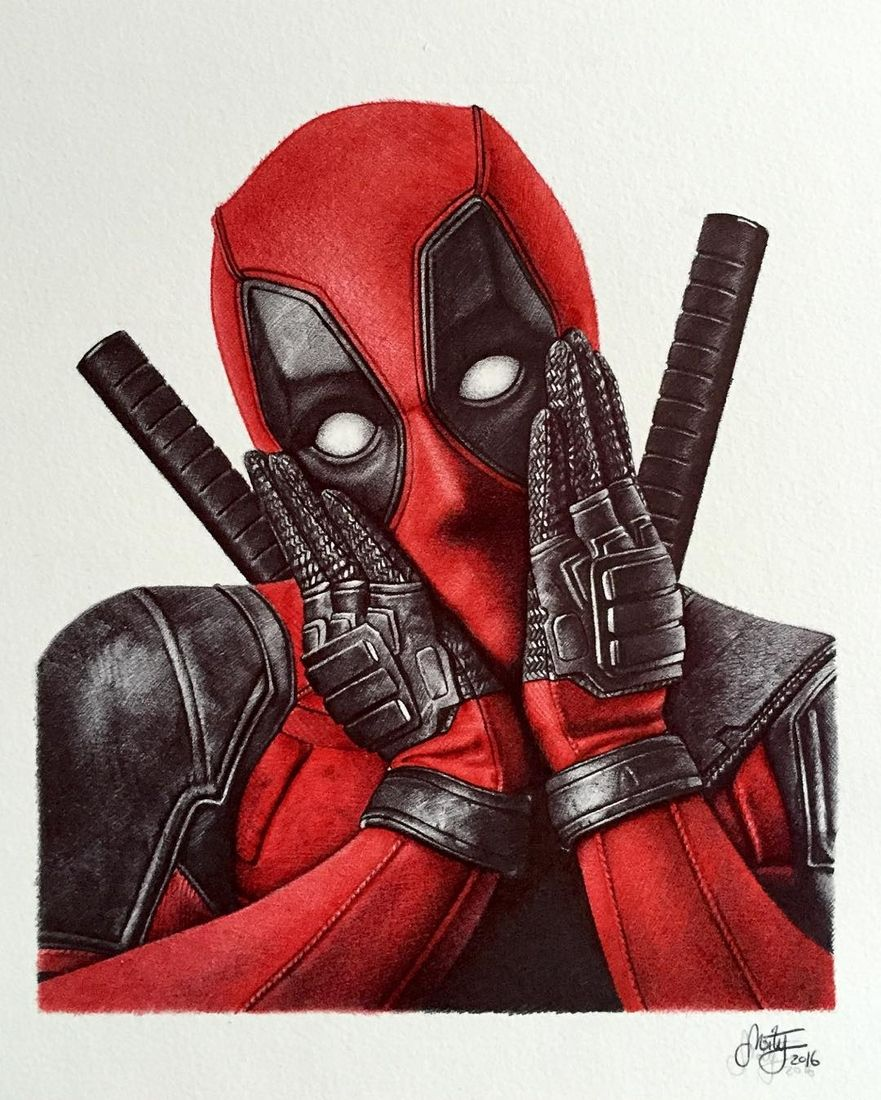 Deadpool ballpoint pen realistic drawing by stephan moity