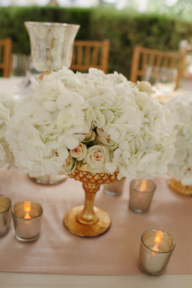 Some Of The Centerpieces Will Have A Low Gold Gilded Compote Vase Gold Wedding Decorations Gold Wedding Decorations Receptions Rose Gold White Wedding