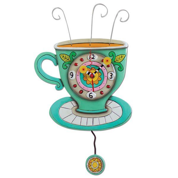 Sunny Cup Clock Pendulum Wall Clock Clock Design Coffee Cup Design