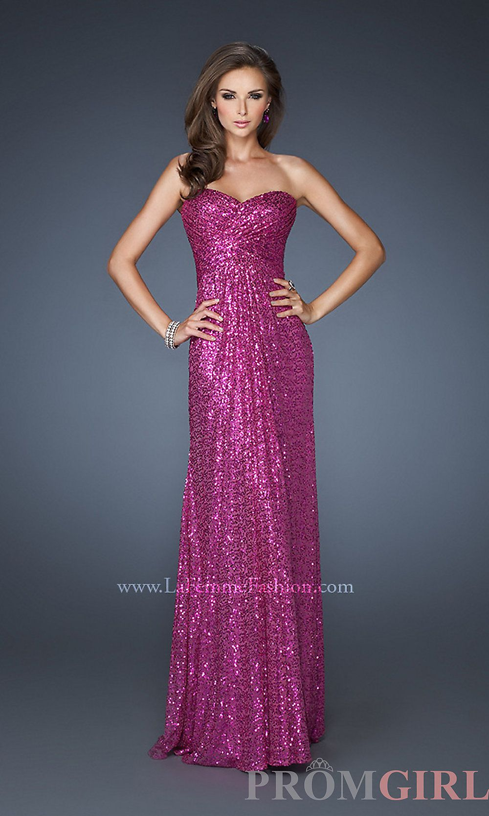 Strapless Sequin Long Prom Dress, La Femme Pageant Gown- PromGirl ...