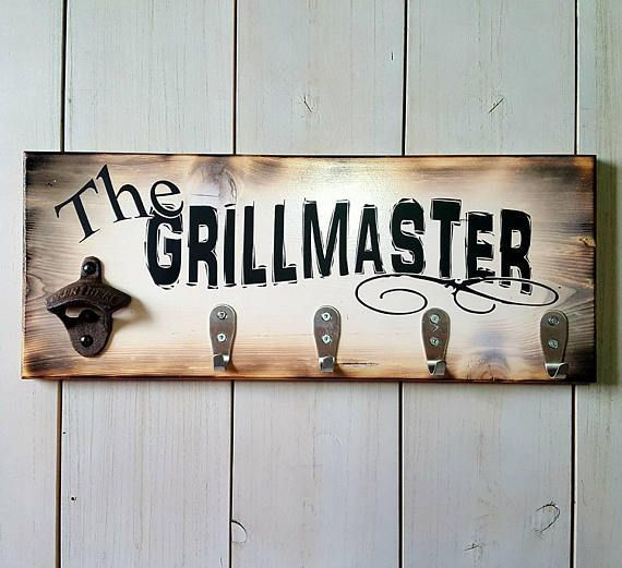The Grillmaster Wood Sign Fathers Day Grilling Beer Bottle