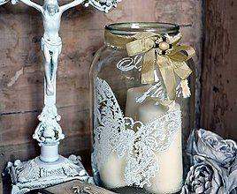 Svietidlá a sviečky - Shabby vintage svietnik dóza lampáš - 4939516_