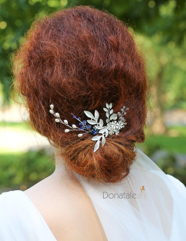 Something Blue Bridal hair comb, Bridal hairpiece, wedding hair piece ,wedding hair comb, silver wedding headpiece, gold hair accessory , UK