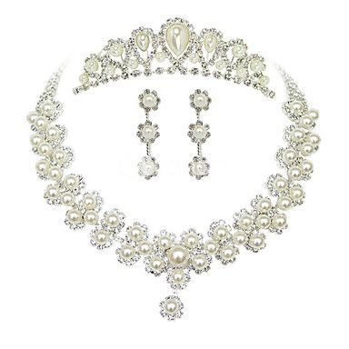 Sweet Silver Pearl Metal Tiara Earrings Necklace Wedding Set Usd 14 99 Bridal Jewelry Sets Bridal Jewelry Wedding Jewelry Sets