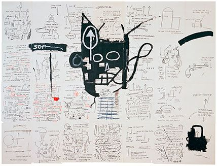 Jean-Michel Basquiat (American, 1960–1988). Untitled, 1982–83. Oilstick, colored pencil, crayon, and gouache on paper mounted on canvas, 96 x 126 in. (243.8 x 320 cm). Collection of Fred Hoffman. Copyright © Estate of Jean-Michel Basquiat, all rights reserved. Licensed by Artestar, New York