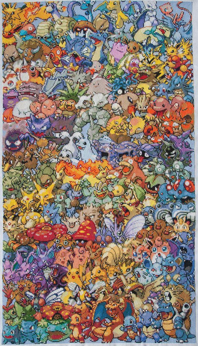 punto+de+cruz+tejer+bordar+coser+pokemon+seri+anime+manga+pikachu+ ...