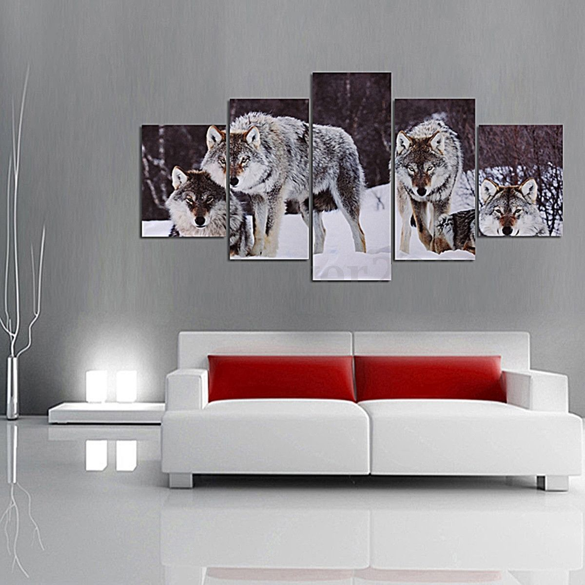 Pcs wolf snowfield canvas picture modern art unframed painting home