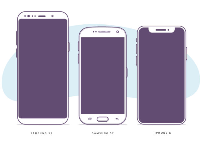 Free Flat Galaxy S8 S7 And Iphone X Vector Illustration Titanui Iphone Web Graphic Design Galaxy