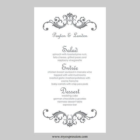 Wedding Menu Card Template u2013 Vintage Scrolls (Gray Silver) - Instant - invitation template nature