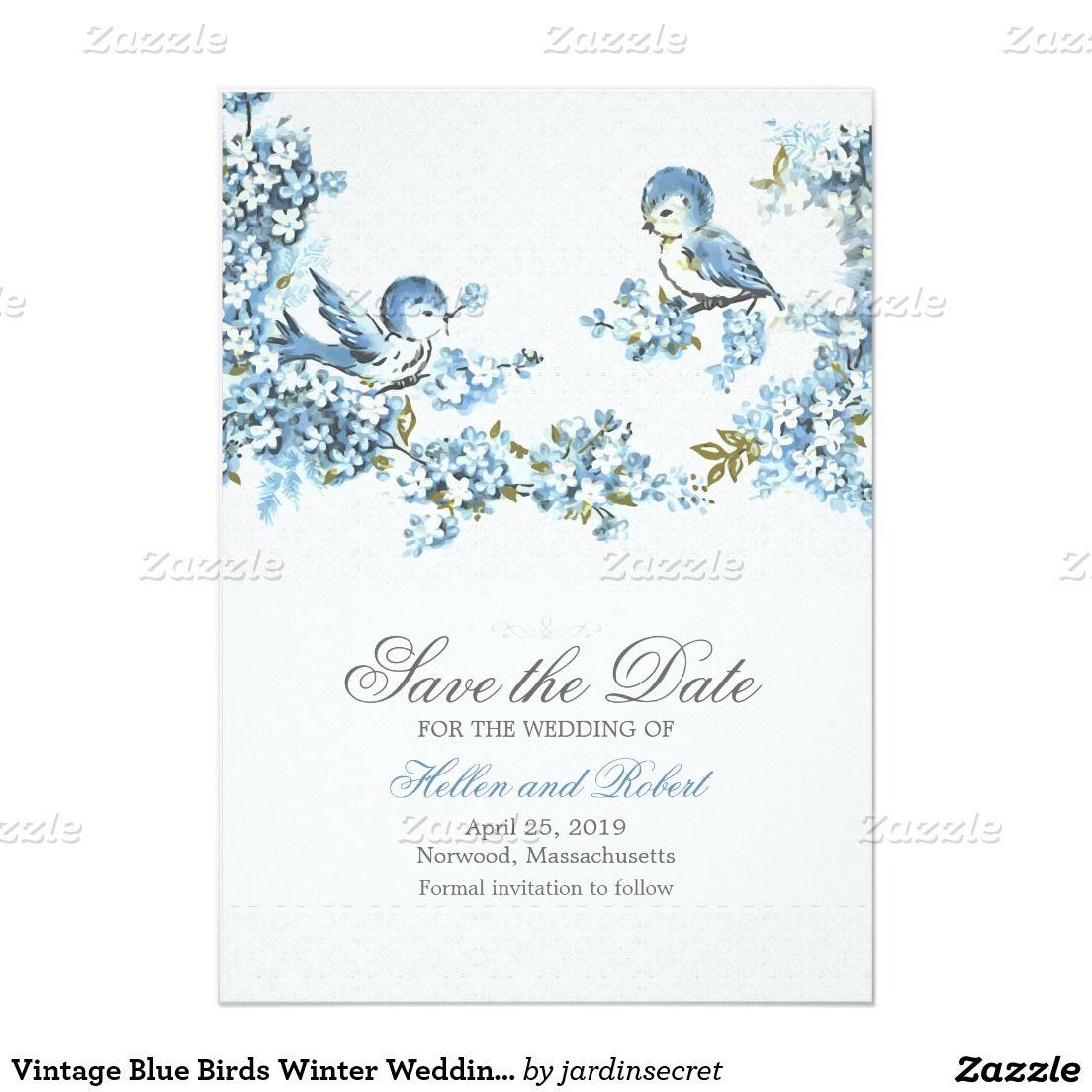 Vintage Blue Birds Winter Wedding Save the Date Card | website ...
