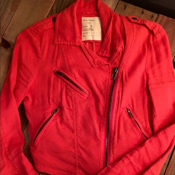 Free People Jacket 0 This is a never before worn, Free People jacket! The color is a deep orangish/coral color that looks great with jeans and boots! Size 0 Free People Jackets & Coats