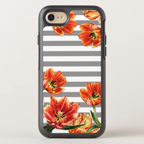 Tulips Grey Stripes Chic OtterBox Symmetry iPhone 8/7 Case Custom Brandable Electronics Gifts for your buniness #electronics #logo #brand