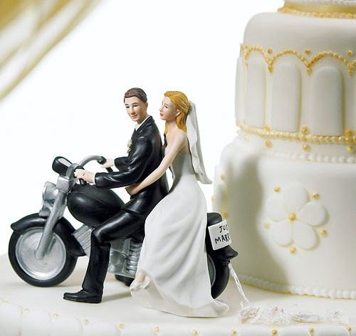 Motorcycle Get-Away Couple Cake Topper | Bride Groom Cake Toppers | Motorcycle Cake Toppers