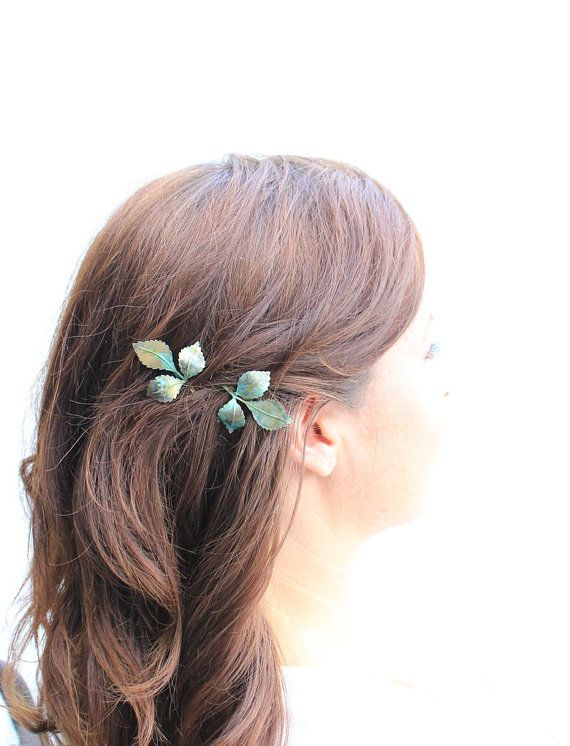 Leaf Bobby Pins Leaves Branch Patina Verdigris Green Woodland Wedding Hair Accessories Slides Pair Of Nature Bridal