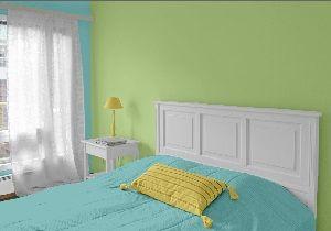 Farbgestaltung Für Ein Schlafzimmer In Den Wandfarben: Grün - Blau ... Gelb Grun Wandfarbe