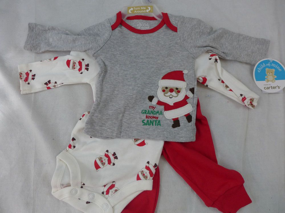 Infant 3 Piece Christmas Set Grand Ma Knows Santa Shirt One Piece & Pant Creeper #Carters #ChristmasHoliday
