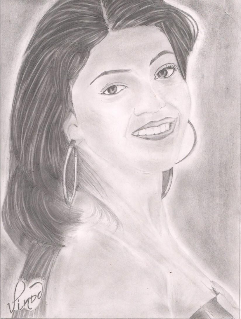 South #indian #beauty... #KAJAL #AGARWAL - #Sketching By Vinod Alumula At Touchtalent # ...