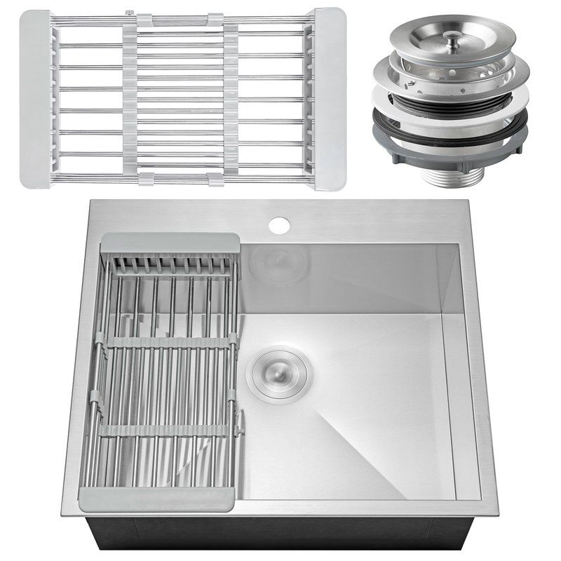 25 X 22 Drop In Kitchen Sink With Basket Strainer Drop In