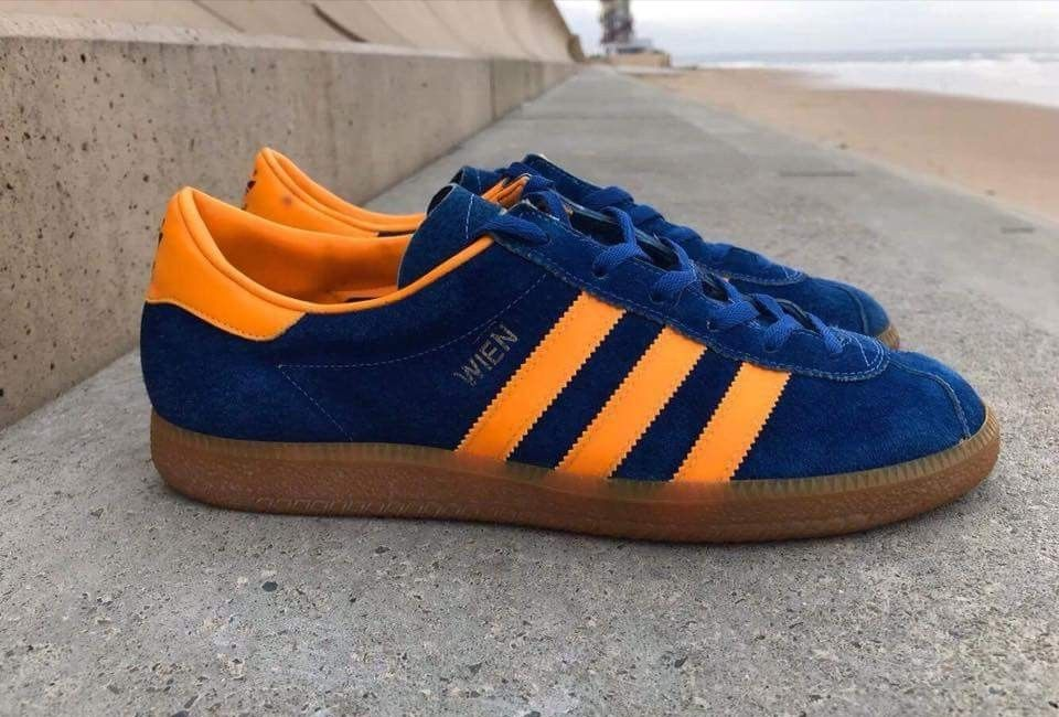 promo code 2b28a 1e9bb Adidas Wien, one of the nicest adidas colourways, the orange trim really  pops against the blue suede