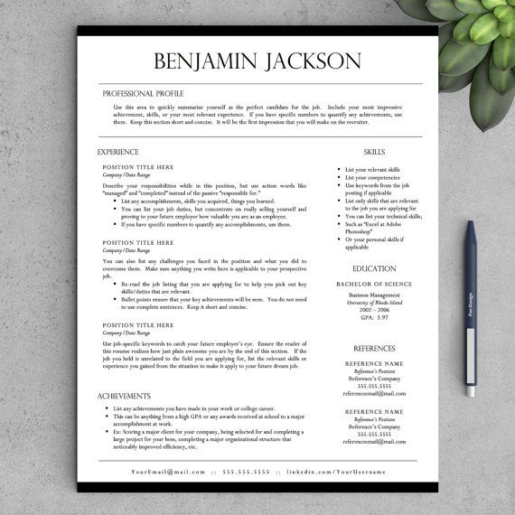 Resume Template   Professional Resume Template for Word & Pages + ...