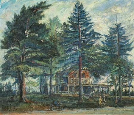 Dacha Near Saint Petersburg by David Burliuk   Size: 38x45 in Medium: oil on canvas