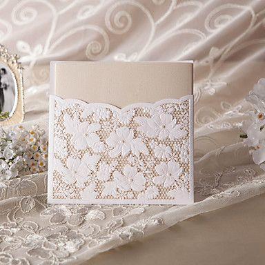 elegante corte de flores invitación de la boda (juego de 50) - USD $ 119.99