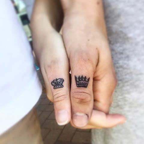 Relationship King And Queen Crown Tattoos