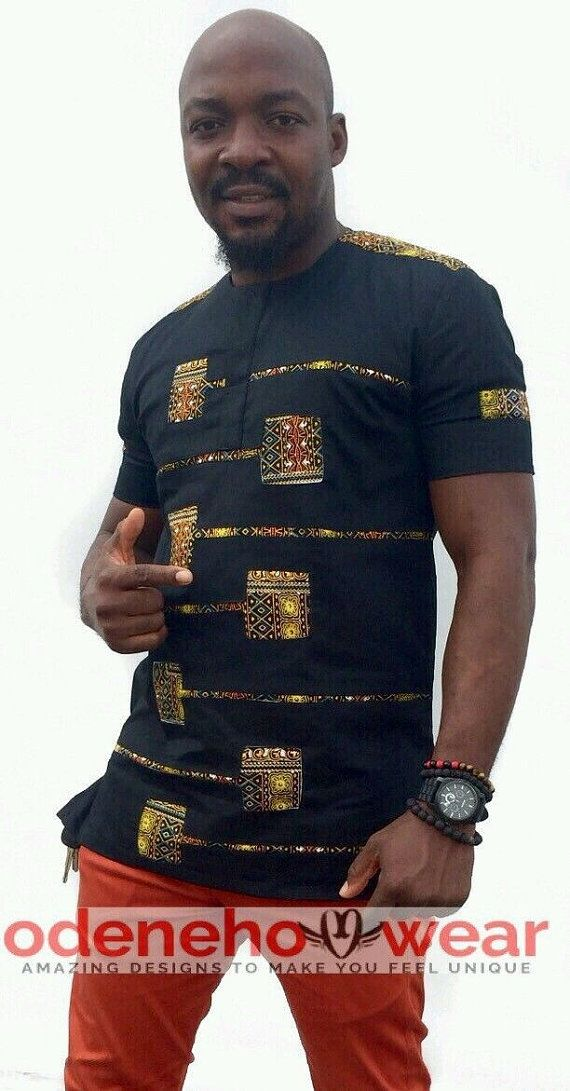 Odeneho Wear Men/'s Black Polished Cotton Top With Dashiki African Clothing