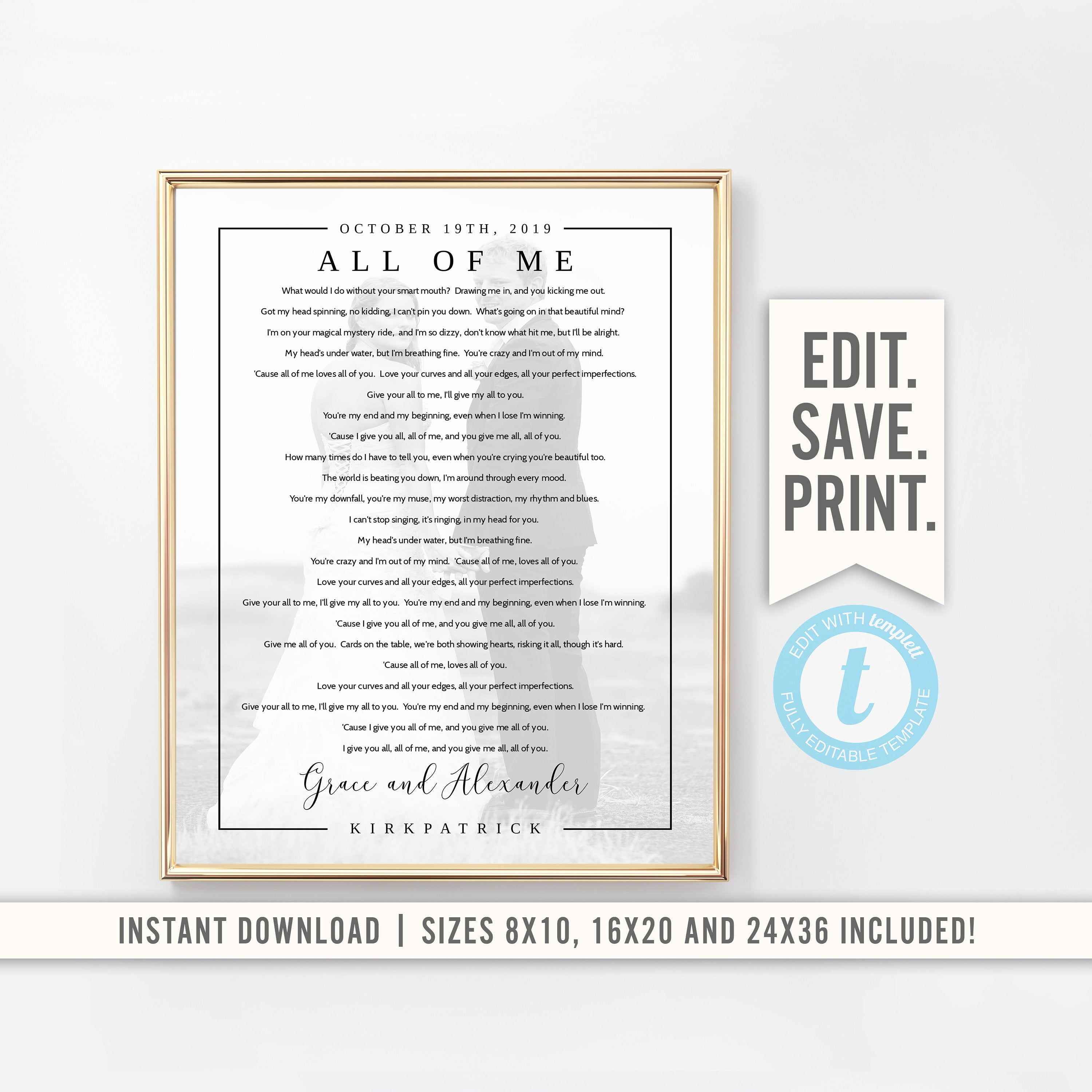 Wedding Song Lyrics With Photo Instant Download Editable File Etsy Wedding Song Lyrics Wedding Songs Songs