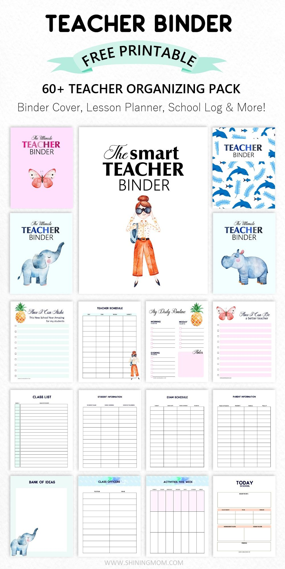 FREE Teacher Binder: 60+ Outstanding Organizing Printables! #teacherplannerfree