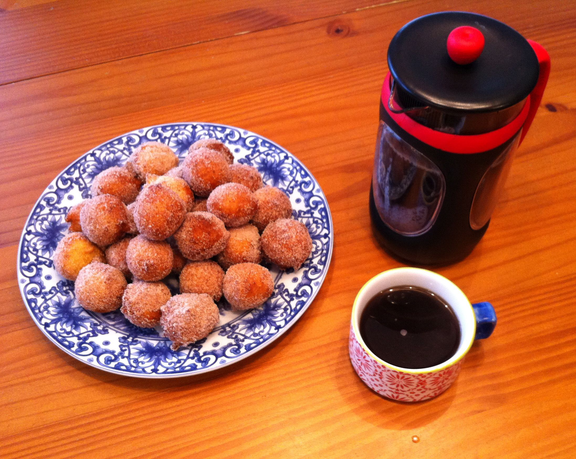 Crispy Cornmeal Drop Donuts - Yum! Like sweet hushpuppies rolled in cinnamon sugar. Got recipe from allrecipes.com