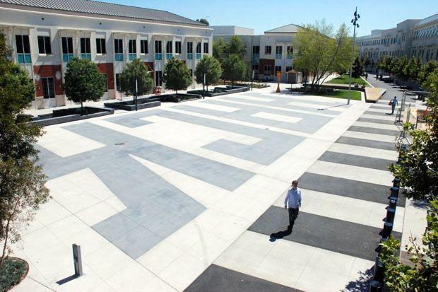 "Facebook's ""HACK"" courtyard"