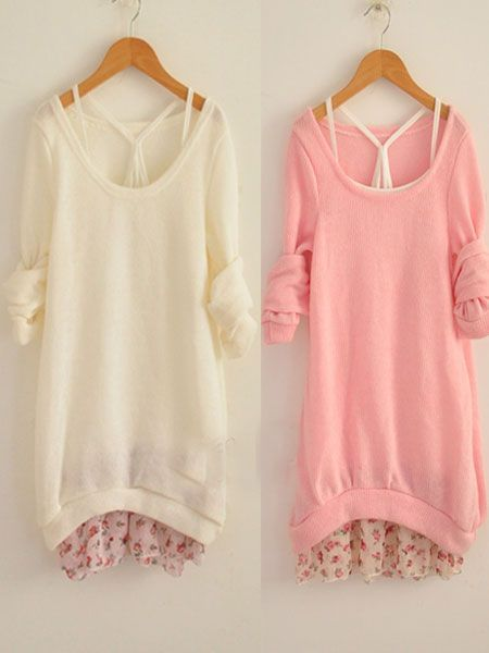 Round Collar Long Sleeve Cotton Two -Piece Sweaters