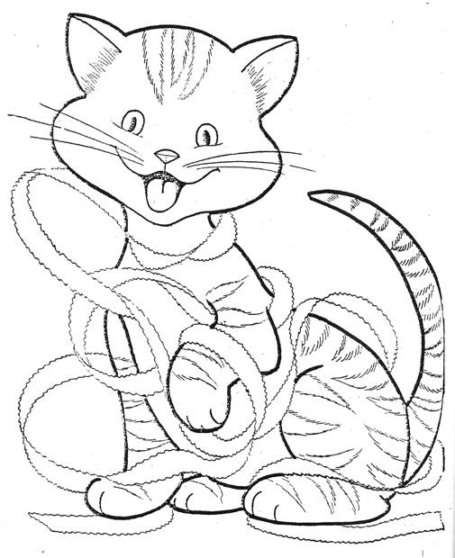 Christmas Kitten Playing With Ribbon Coloring Pages Cat