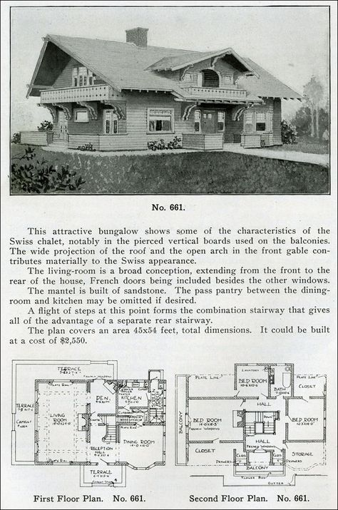 Design No 661 From The Bungalow Book By Henry Wilson 1910 Swiss Chalet Style Bungalows Are Characte Vintage House Plans Craftsman House Plans House Plans