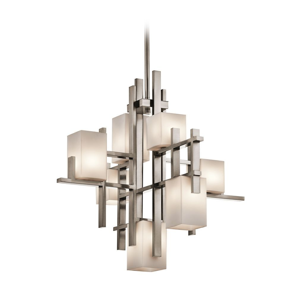 Kichler modern chandelier with white glass in classic pewter finish kichler lighting kichler modern chandelier with white glass in classic pewter finish 42940clp aloadofball Image collections
