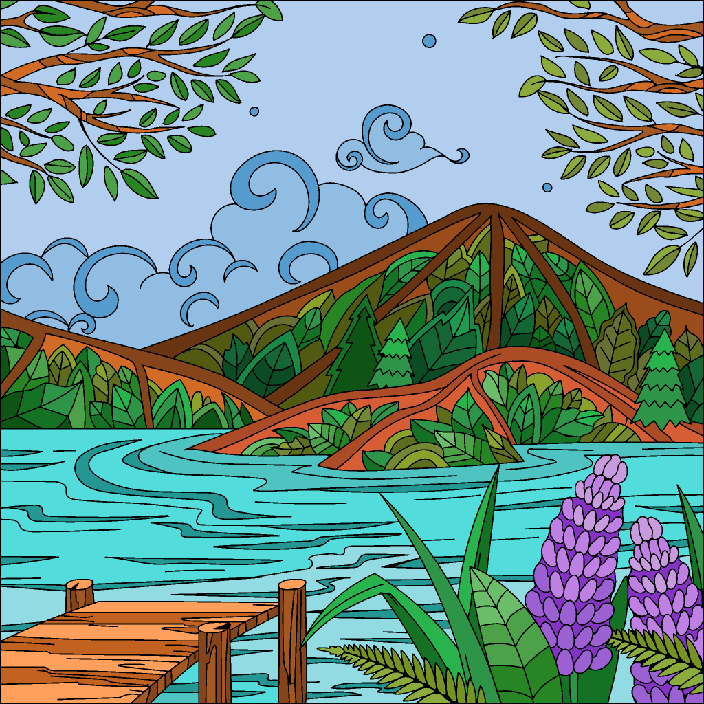 Pin By Lbguy00 On Virtual Coloring Book Colorful Pictures Landscape Quilts Happy Colors
