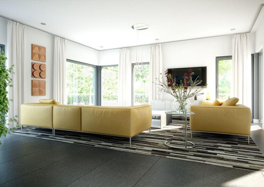 Inneneinrichtung Wohnzimmer Modern // Haus Concept M 193 Bien Zenker //  Wohnraumgestaltung Grau