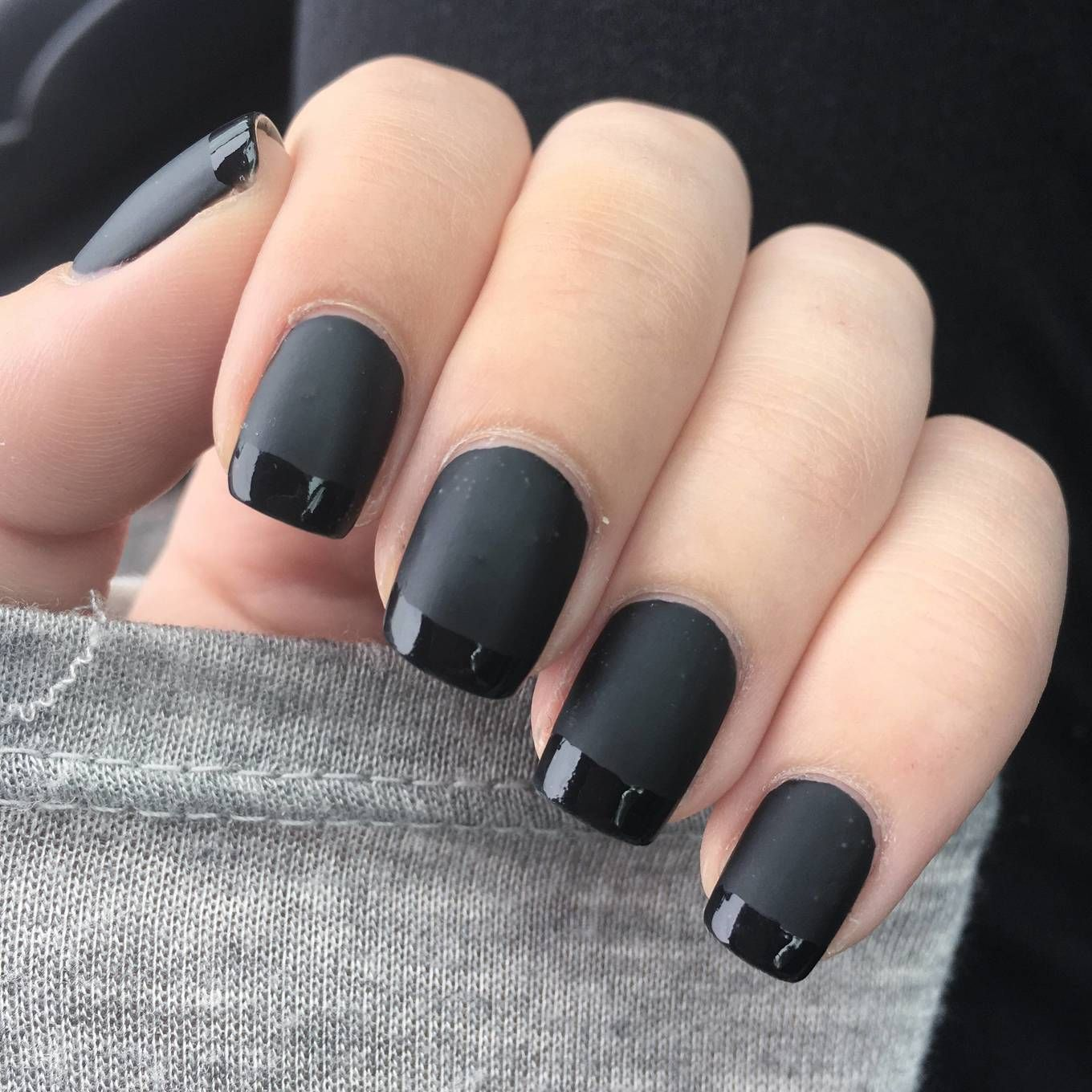Matte Black With Gloss Tips Matte Nails Design Matte Black Nail Polish Matte Black Nails