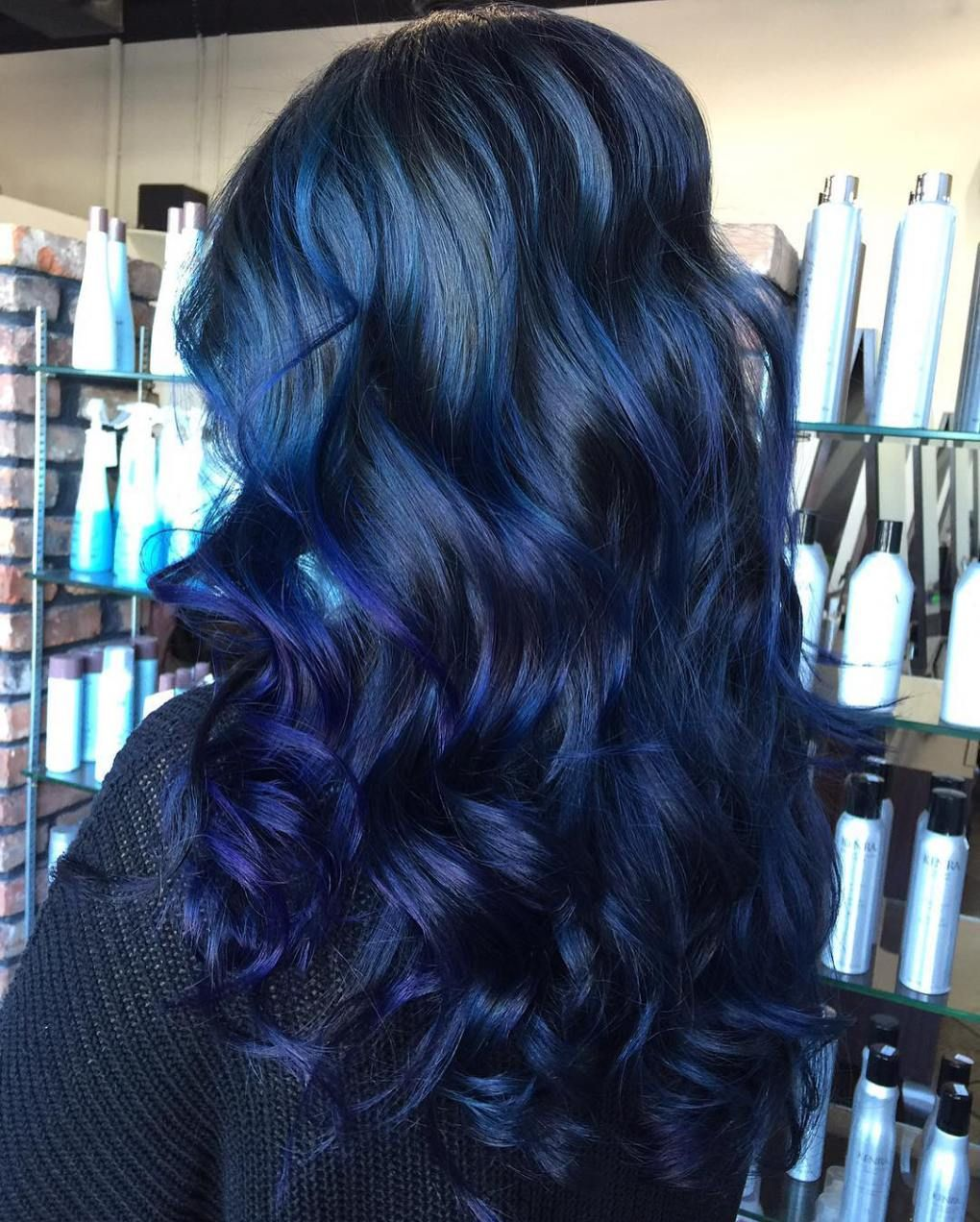 Long Black Hair With Blue Highlights Blue Hair Highlights Hair Styles Hair Color For Black Hair
